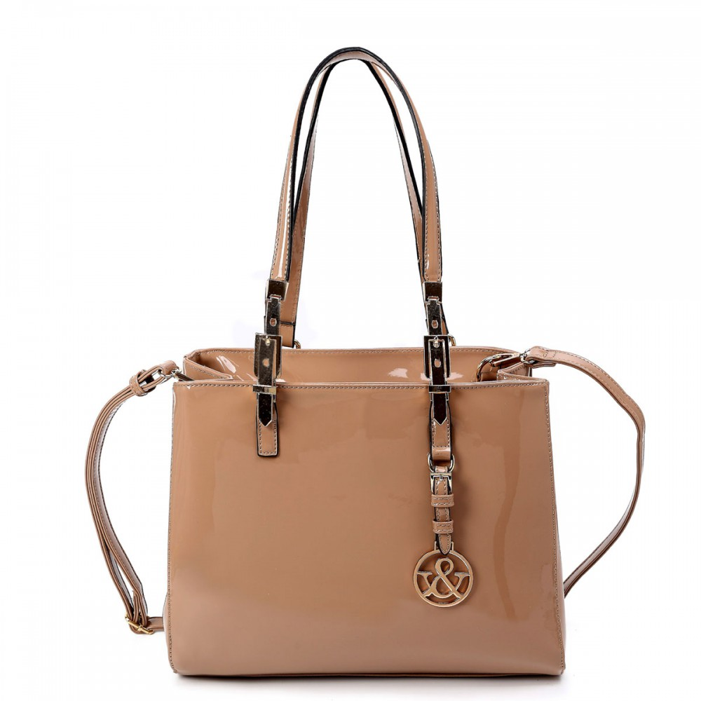 Nude 'Hue & Ash' Glossy Satchel Handbag - HNA 222-2 - Click Image to Close