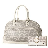Beige 2IN1 Extra Large Signature Inspired Duffle Bag Set- M58