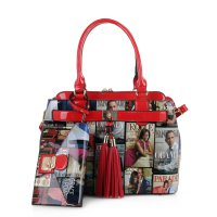 Red 2 in 1 Michelle Obama Magazine Handbag Set - MB5014HS RD