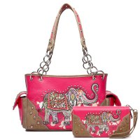 Fuchsia Western Elephant Handbag With Wallet TREL2 8469-300