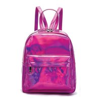 Fuchsia Hologram Zip Back Pack with Rainbow Zipper - HAR2 5686