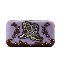 Lavender Cowgirl Trendy Western Boots Wallet - BOO4 4326