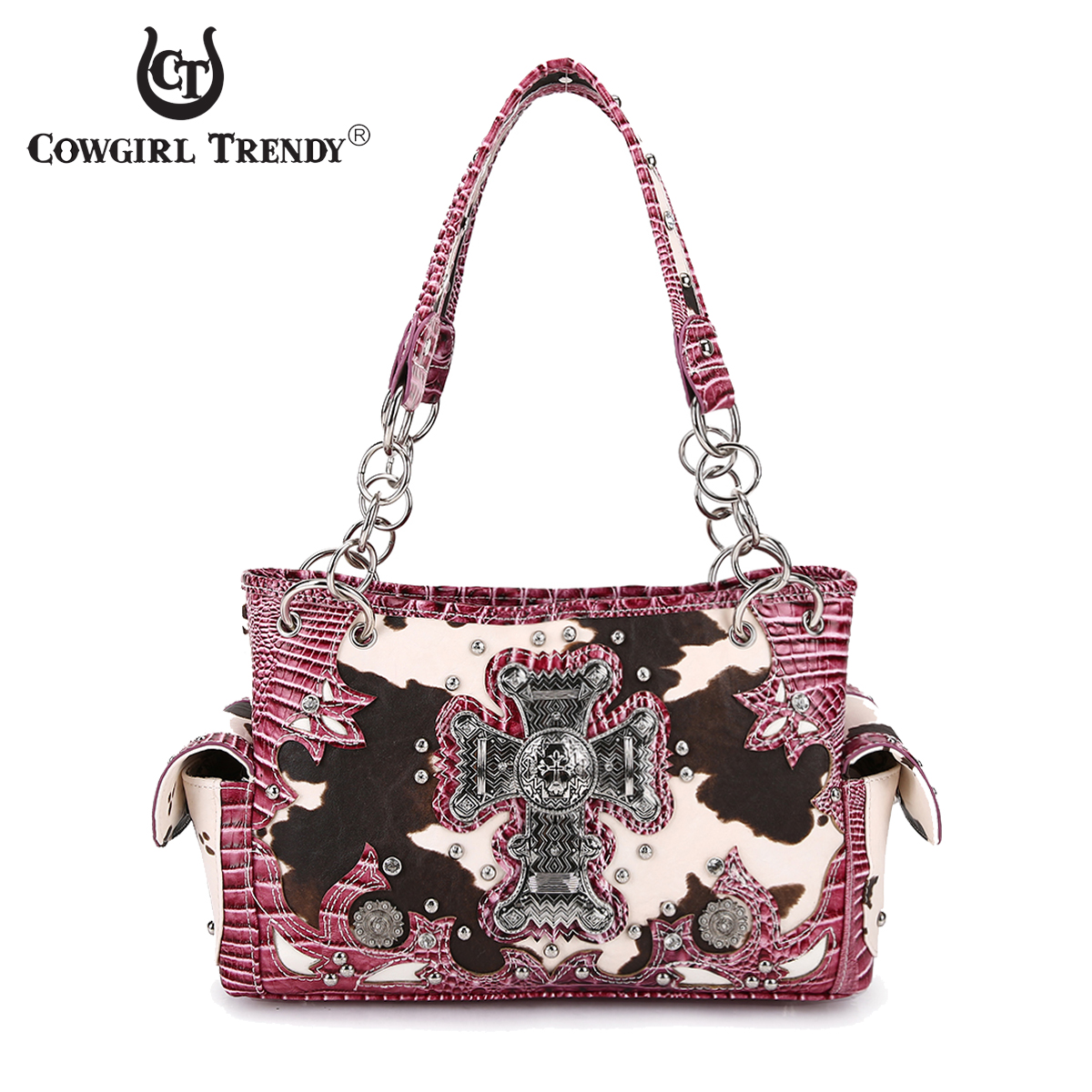 cadb10c177a Fuchsia Western Cow Print And Cross Handbag - BCO2 8469